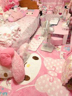 Pastel Kawaii Pink My Melody Bedroom Cute Room Ideas, Cute Room Decor, Girl Decor, Pastel Room, Pink Room, Room Ideas Bedroom, Girls Bedroom, Bedrooms, Japanese Bedroom