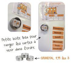 """Des petites boites IKEA aimantées pour le rangement des cartes """"rituels"""" de 3Chaque jour compte """""""