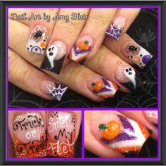halloween, nails. I love the acrylic chevron