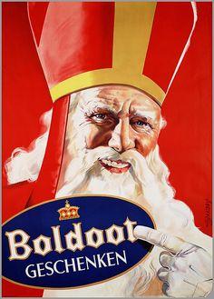 Vintage Ad - Sinterklaas and Boldoot Vintage Advertising Posters, Vintage Advertisements, Vintage Ads, Vintage Posters, Retro Poster, Poster Ads, Film Posters, German Christmas Markets, Old Commercials