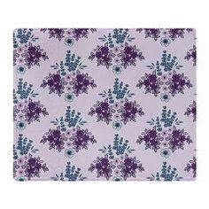 Vintage Lavender Floral Throw Blanket> Lavender Vintage Floral> Nature Tees reversible