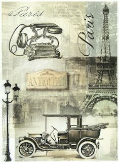Rice Paper - Black Paris - for Decoupage Craft, Scrapbook Sheet, Vintage Diy Décoration, Decoupage Paper, Scrapbook Supplies, Interior Design Living Room, Vintage Black, Art Decor, Antique Cars, Art Drawings, Paper Crafts