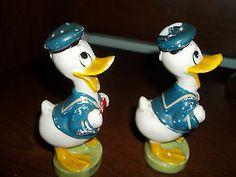 Vintage Figural Ceramic Salt and Pepper Shakers Donald Duck Walt Disney