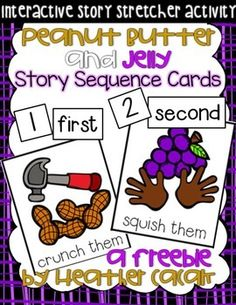 Thanks for your interest in my Peanut Butter and Jelly sequencing cards. I find story retelling & sequencing works best as a teacher-led, whole or small group activity.The set includes: - 4 event sequence cards (color) - 4 object sequence cards (color) - 4 numeral cards (b/w)- 4 numeral and 4 ordinal cards- 2 title cards (one color, one b/w)- 1 author card Simply print pages 3 - 5, cut around the cards, laminate them, and have students retell the sequence of events (or the sequence of obj...