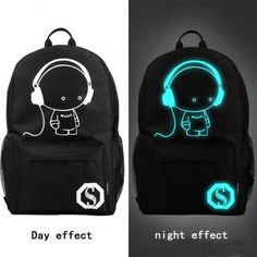 New Casual luminous Backpack School Bag Music boy  demon Pirate  for choose