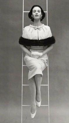 Gloria Vanderbilt in Mainbocher, photographed by Richard Avedon, 1955.