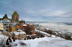 Quebec: this is pretty much what it looked like when I visited.  We stayed right there in the tower of the Chateau Frontenac.