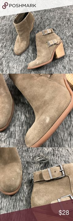 Lucky Brand Booties Neutral colored chunky heeled booties with Rubber sole and outer buckle detail. Back zipper closure. Very cute Heels and perfect with jeans. Some wear on outer Suede, inner and bottoms. Still in great condition. Lucky Brand Shoes Ankle Boots & Booties