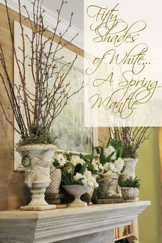 """Miss Kopy Kat: """"Fifty Shades of White"""" Spring Mantle and Bookcase"""