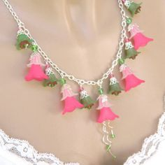 Flower Necklaces for Women Pink Necklace Chunky Necklace