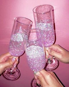 Pink champagne with pink glitter