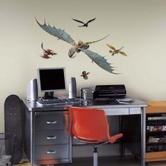 Create a soaring scene on your wall with Astrid and Stormfly giant wall decals from How To Train Your Dragon 2.