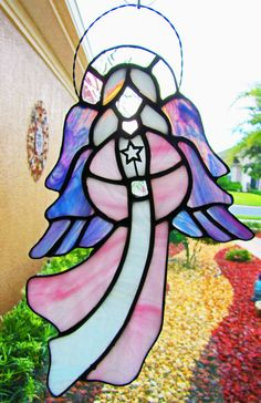 Angel Stained Glass Sun Catcher ~ Pink Robed Angel with Lavender Iridescent Wings ~ 11 inches high ~ Inspirational Art ~ Religious Art