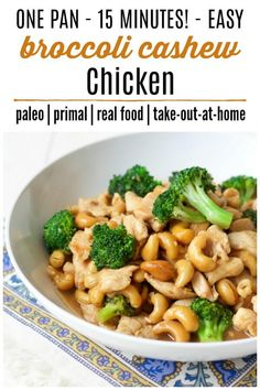 Paleo - One Pan Broccoli Cashew Chicken whips up in 15 minutes and is so easy to make. This delicious, 10 ingredient, full of flavor meal is easy on the budget too! Paleo Recipes Easy, Quick Dinner Recipes, Paleo Dinner, Easy Chicken Recipes, Quick Easy Meals, Real Food Recipes, Budget Recipes, Meal Recipes, Inexpensive Meals
