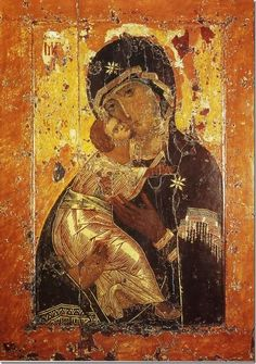 """byzantio: """" byzantio: """" Our Lady of Vladimir First third of the century Wood, tempera 104 x 69 The most Orthodox and revered icon in medieval Russia, «Our Lady of Vladimir Byzantine Icons, Byzantine Art, Russian Icons, Russian Art, Religious Icons, Religious Art, Orthodox Catholic, Russian Orthodox, Orthodox Christianity"""