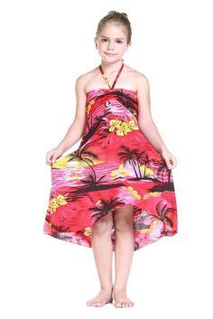Girl Hawaiian Luau Butterfly Dress in Sunset Red