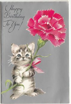 Vintage Little Kitten With Pink Carnation Birthday Greeting Card