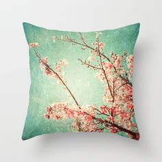 Pink Autumn Leafs on Blue Textured Sky (Vintage Nature Photography) Throw Pillow by Andrea Caroline - $20.00