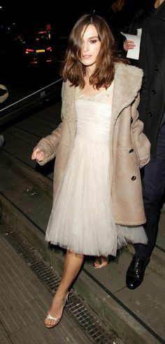 Keira Knightley - tulle gown + trench... this would make a great wedding dress.