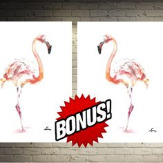 Flamingo Art Print Decor Wall Art Set 2   #print #gift   #wall   #decor   #room #home   #watercolor #painting