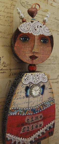 """Time Has Wings""-mixed media art doll by MJChadbourne/Desert Dream Studios copyright 2013"