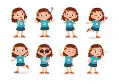 Set of girls characters Premium Vector | Premium Vector #Freepik #vector #people #family #girl #character