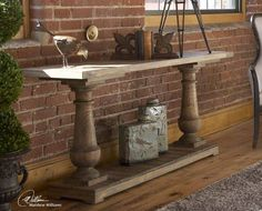 Old World / French Style Distressed Rustic Console Sofa Table Reclaimed Wood