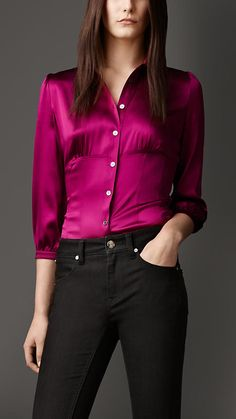 Burberry London Fitted Stretch-Silk Shirt