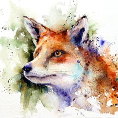RED FOX Original Watercolor Painting by Dean by DeanCrouserArt, $145.00