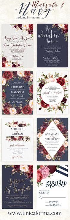 Navy and marsala wedding invitations. Navy and burgundy wedding invitations. Grey Wedding Invitations, Rustic Invitations, Wedding Cards, Our Wedding, Dream Wedding, Trendy Wedding, Wedding Rustic, Invitation Ideas, Wedding Invitation Layout