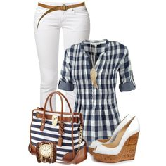 """Navy Stripes Bag"" by elenh2005 on Polyvore"