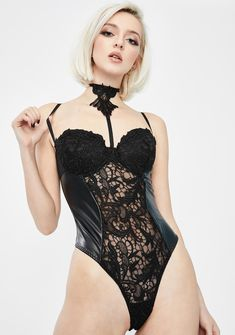 Lace Up Front Teddy w Buckle Detail Leg Garter Included 24473