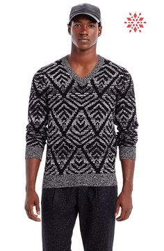 Graphic V-Neck Sweater - Sweaters - Mens - Armani Exchange