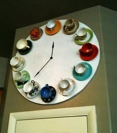Teacup Clock - this would look amazing in rainbow colours