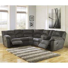 Ashley Furniture Sectional Microfiber ashley furniture amazon reclining sectional in mocha - ashley