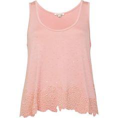 pink beaded vest - smart tops - tops - women - River Island