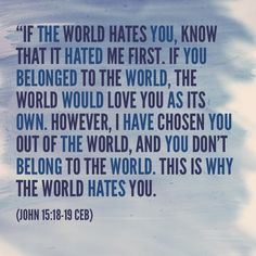 John If the world hates you, keep in mind that it hated me first. If you belonged to the world, it would love you as its own. As it is, you do not belong to the world, but I have chosen you out of the world. That is why the world hates you. Men Quotes, Bible Verses Quotes, Bible Scriptures, Bible Art, Christian Life, Christian Quotes, Christian Living, Mantra, Jesus Is Lord