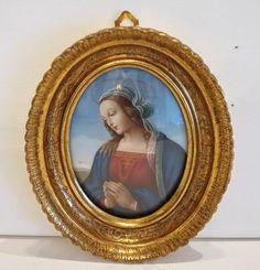 Vintage miniature depicting the Holy Virgin, gilt wood frame, from chateau on Ruby Lane Vintage Frames, Vintage Books, Holiday Gift Guide, Vintage Gifts, Madonna, Antique Silver, Renaissance, Miniatures, Ruby Lane