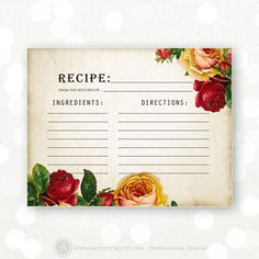 Printable Recipe Card Retro Rose Shabby Chic Bridal by AmeliyCom Retro Recipes, Vintage Recipes, Rustic Flowers, Vintage Flowers, Rose Shabby Chic, Scrapbook Recipe Book, Canning Labels, Canning Recipes, Chic Bridal Showers
