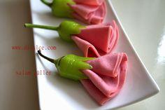 Food art salami appetizer