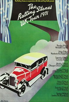 """An original first printing concert poster advertising the Rolling Stones 1971 UK Tour, with art by John Pasche. This tour was also known as the """"Farewell to Rolling Stones Concert, Rolling Stones Tour, Vintage Rock, Vintage Music, Vintage Art, Rolling Stones Album Covers, Goodbye To All That, Stone Uk, Tour Posters"""