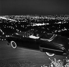 A young couple parked on Mulholland Drive, 1951.
