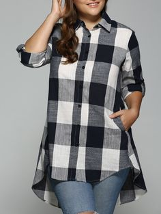 Buy High Low Plus Size Long Plaid Boyfriend Shirt - Purplish Blue - online, fidn many other Women's Clothing Plus Size Shirts, Plus Size Blouses, Plus Size Tops, Plus Size Women, Top Fashion, Plus Size Fashion, Fashion Outfits, Womens Fashion, Fashion Sale