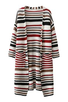 Multicolor Front Pockets Stripe Pattern Cardigan