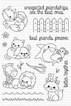 High quality photopolymer stamps manufactured in the UK Doodle Drawings, Doodle Art, Cute Drawings, Images Kawaii, Cute Images, Embroidery Patterns, Hand Embroidery, Best Friends Forever, Tampons