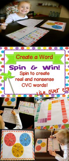 Spin & Win: CVC Real and Nonsense words. Students spin 3 spinners to create a word.  Have a real word? Have a nonsense word?  Either way students get rewarded for their efforts. An assessment page is included to view student understanding. $ #lifeovercs #cvc #realwords #nonsenswords #learningtoread #education