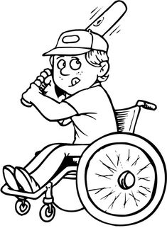 Disability Boy On Wheelchair Playing Baseball Coloring Page : Kids Play Color People Coloring Pages, Coloring Sheets For Kids, Coloring Book Pages, Baseball Coloring Pages, Jewish Crafts, Creative Writing Ideas, Sport Craft, Online Coloring, Activity Sheets