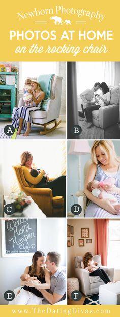 Cute At Home Newborn Photos on the Rocking Chair