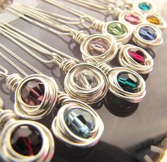 Birthstone Necklace - simplicity - Swarovski Crystal and Silver