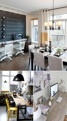 I am in love with the dining room + desk area for a studio work space. Heart Heart Heart!